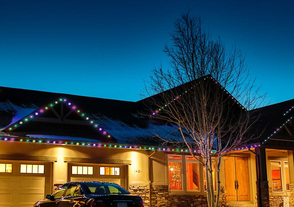permanent led holiday lights light up this colorado home