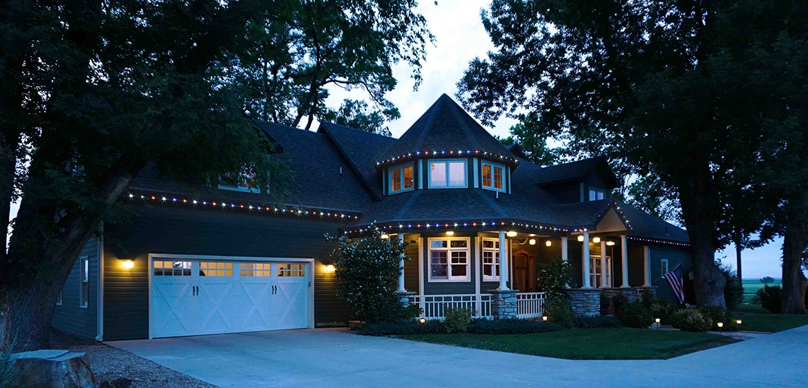Permanent LED lighting lets this home be noticeable year-round.